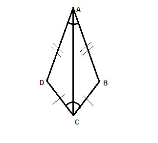 Geometry shape of a deltoid with diagonal