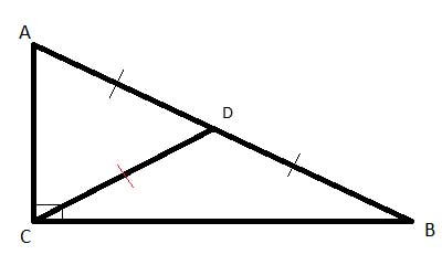 Geometry shapes: right triangle with a median to the hypotenuse