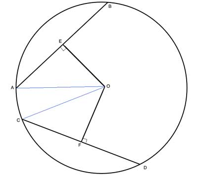 Geometry drawing: congruent chords with triangles