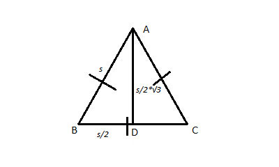 equilateral triangle with side s