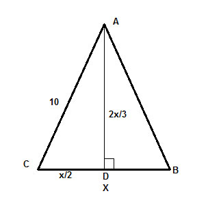 Steps to finding the area of isosceles triangles