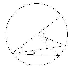 Geometry: inscribed angle with diameter drawn outside the angle