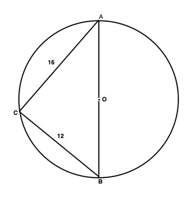 Geometry shape of an inscribed triangle with diameter.