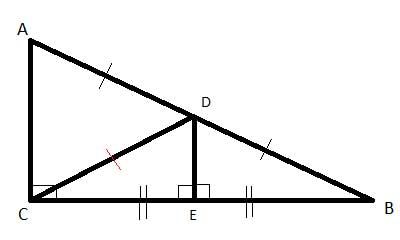 Geometry shapes - triangle - median with midsegment drawn