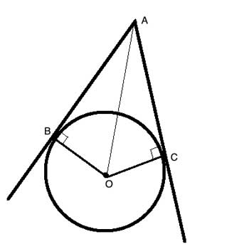 Geometry shape: tangents with triangles