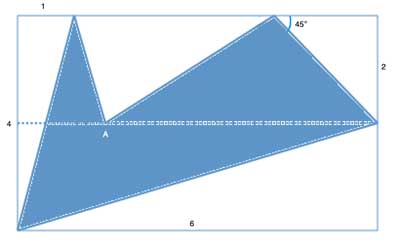 area of an irregular shape with A