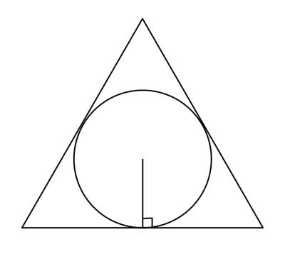 circle inscribed in equilateral triangle