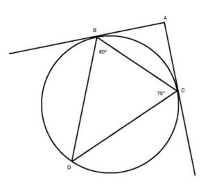 Geometry drawing of a circle with a triangle and tangents.