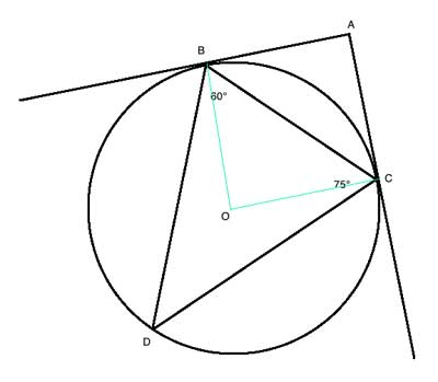 Geometry drawing: circle with triangle and tangents and center.