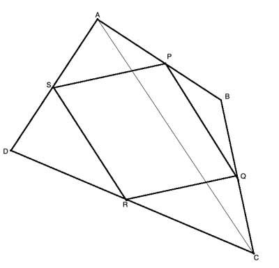 quadrilateral midpoints with diagonal