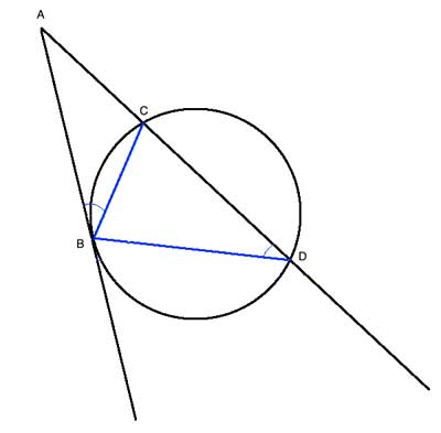 tangent-secant with triangles