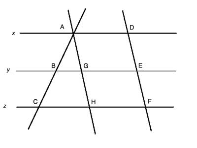 3 parallel lines with similar trinagle
