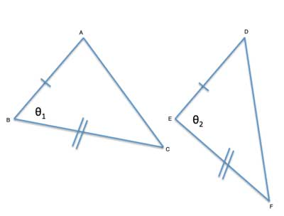 two triangles with 2 congruent sides