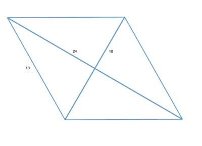 Parallelogram with diagonal lengths and side length