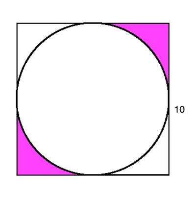 Finding the area between the circle and the square