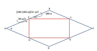 Angle math for triangles inside a rhombus