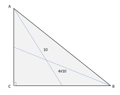 medians to in right triangles