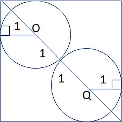 Two circles in a square