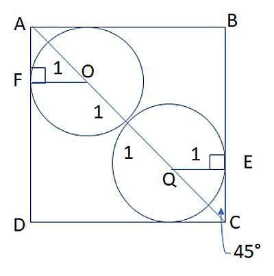 two circles on the diagonal